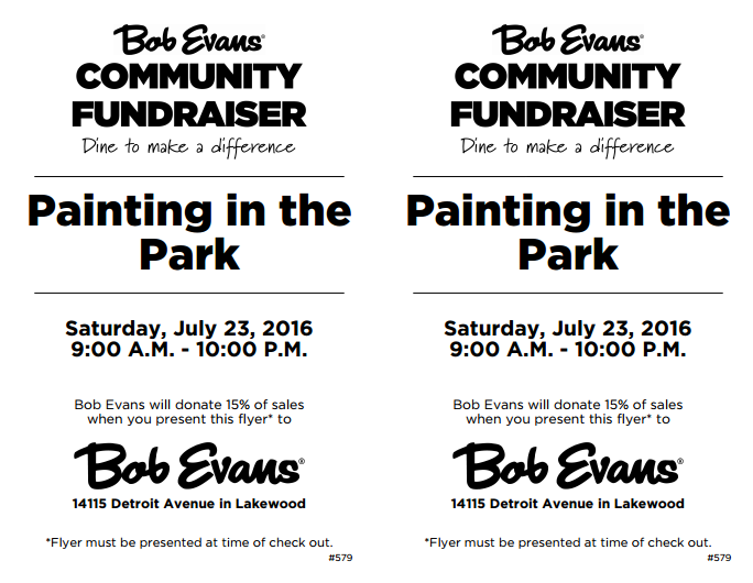 Dine For A Purpose Painting In The Park Flyer
